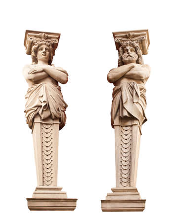 telamon: ATLANTA and Caryatid. Sculptural group. Stock Photo