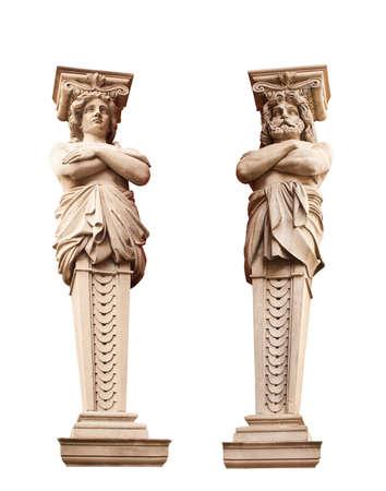 atlantes: ATLANTA and Caryatid. Sculptural group. Stock Photo