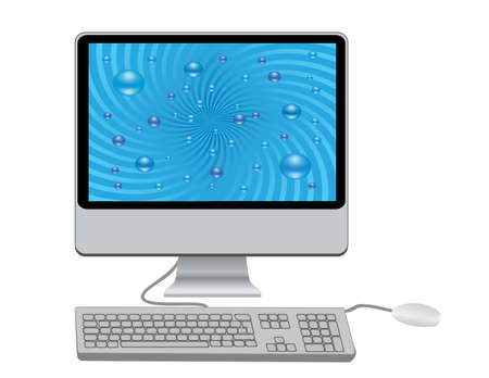 Monitor with keyboard and mouse Illustration