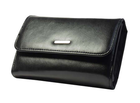 change purse: Black purse, isolated on a white background. Stock Photo