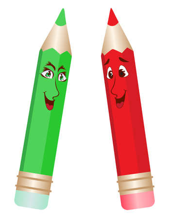 Red and green pencils Stock Vector - 6523274