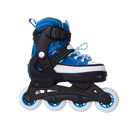 Blue roller skates isolated on a white background. photo