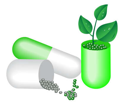 Capsule of medicine and young plants. Vector