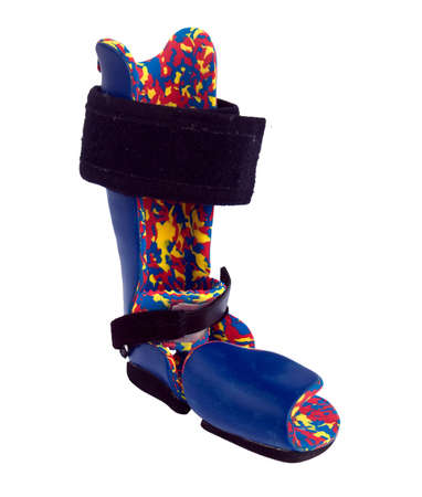 Orthopedic equipment for the correction of clubfoot in children.