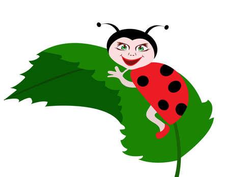 dappled: Ladybug on green leaf