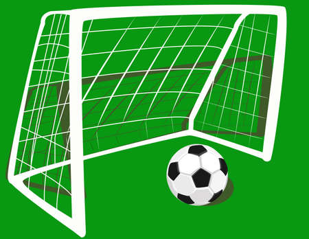 soccer goal:   football at the gate. Illustration