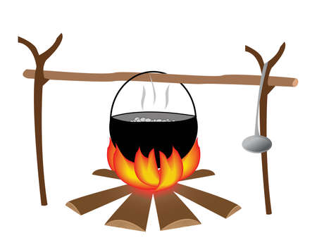 Koken op een vuur. Vector Illustratie