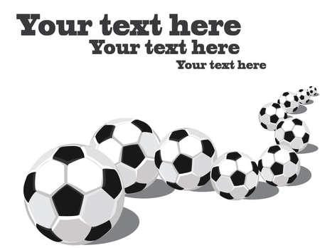 Soccer balls in a row.  Ilustração