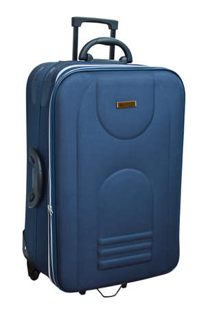 piece of luggage: The blue suitcase isolated on white background.