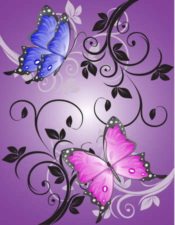 butterflies abstract:   Colorful butterflies in the open pattern. Illustration