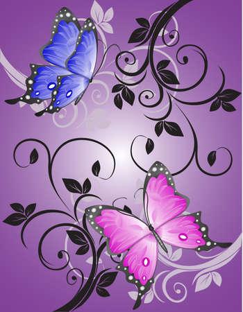 mariposa azul: Coloridas mariposas en el modelo abierto.  Vectores