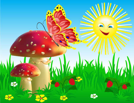 landscaped garden: Summer landscape with mushrooms and a butterfly. Illustration