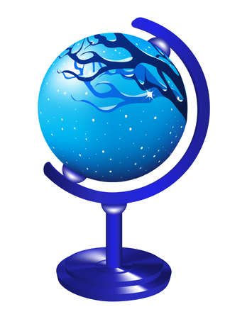 Globe with the image of the winter landscape. Stock Vector - 7587564