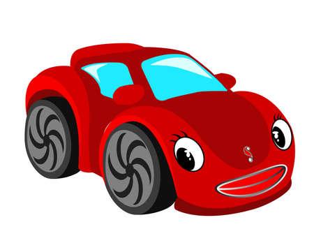 carro caricatura: Coche roja.  Vectores