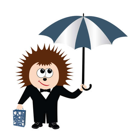 Hedgehog with a bag and under an umbrella. Stock Vector - 8084888
