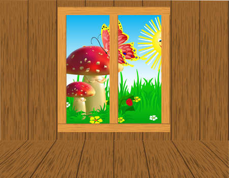 Interior room with seasonal views of the window. Vector