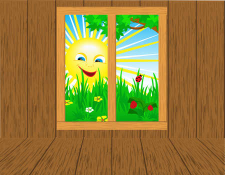 wooden window: Interior room with seasonal views of the window. Illustration