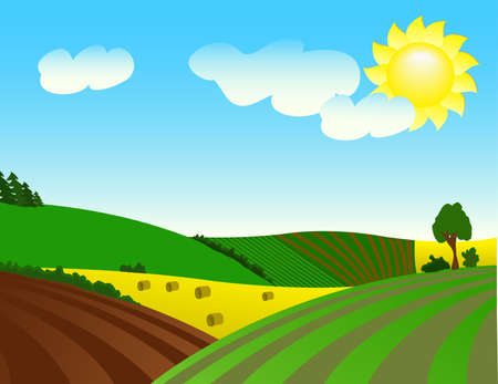 Environmentally prosperous rural landscape.  Vector