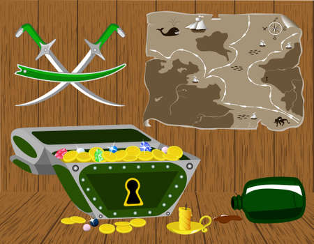 a chest of gold and a pirate map.  Vector