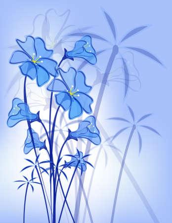 blue floral pattern.  Vector
