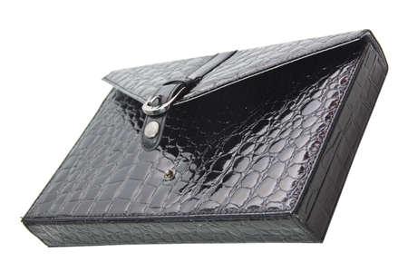 black briefcase: malet�n negro hecha de piel de cocodrilo.