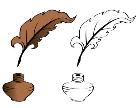 Pen and inkwell. Vector