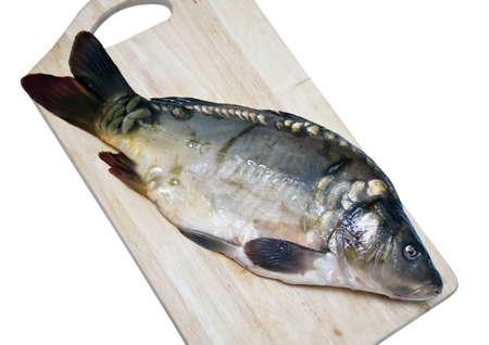mirror carp: Mirror carp on a cutting board