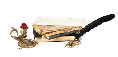 Antique desk set, and books isolated on a white background. photo