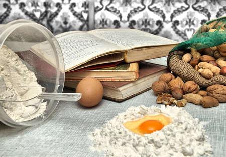 Baking fresh dough background Stock Photo