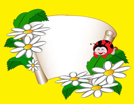 card with daisies and ladybug
