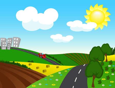 carro caricatura: La carretera de la ciudad  Vectores