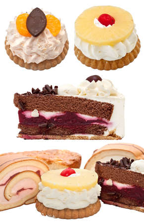 variety of cake on a white background  photo