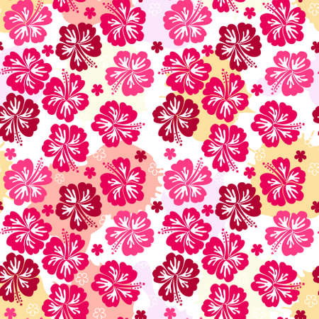 tropical flowers: seamless pattern  Illustration