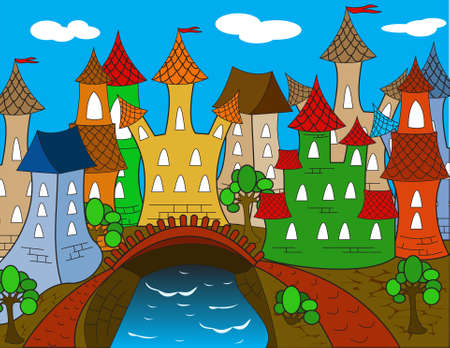 Colorful Cartoon town house  Vector