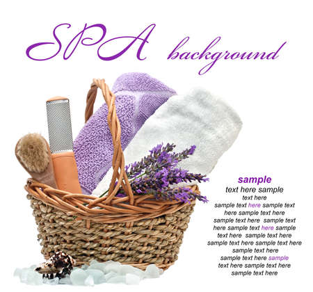 spa background with lavender  on a white background photo