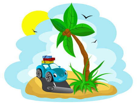 car with the luggage under a palm tree Vector