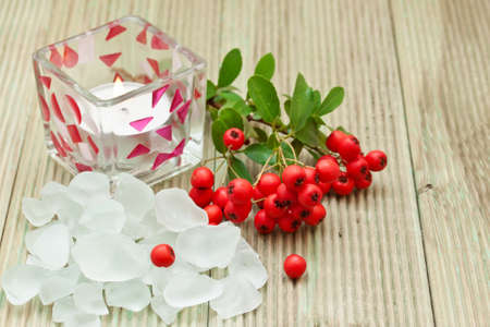 Salt bath with red berries. Spa background  photo