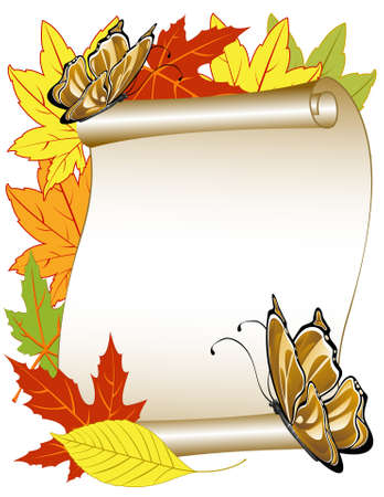 insect on leaf:  butterfly pattern with autumn leaves Illustration