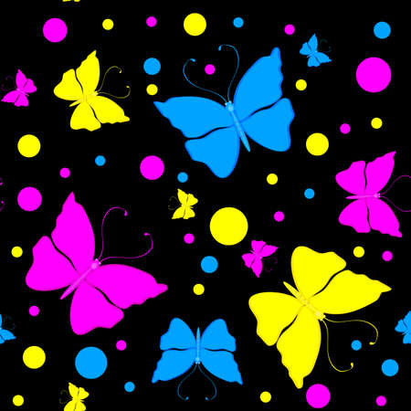Seamless pattern with colorful butterflies Stock Vector - 10431670