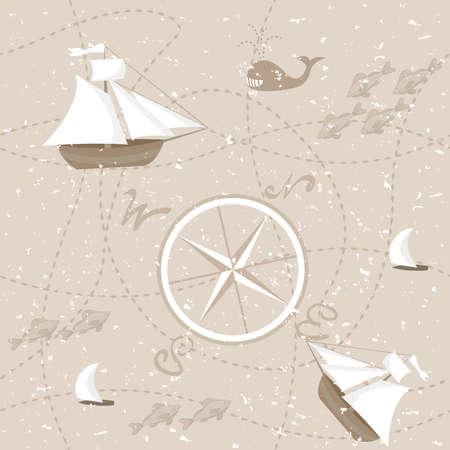 Abstract map, seamless pattern Ilustração