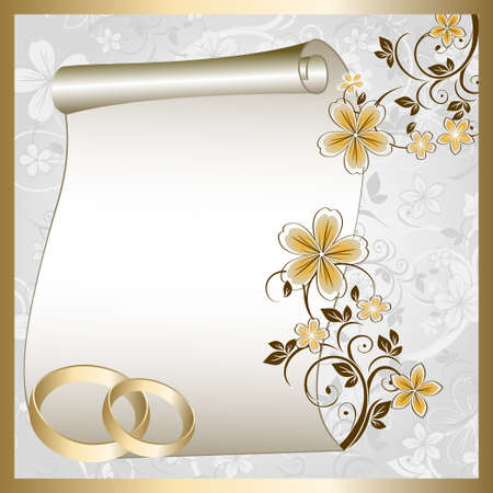 honeymoon: Wedding card  with a floral pattern and place for text