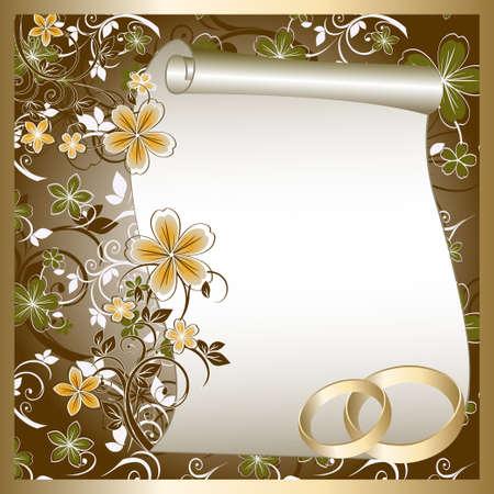 디자인: 텍스트의 꽃 패턴 및 장소 웨딩 카드 일러스트