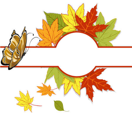 banner with autumn leaves and a butterfly Vector