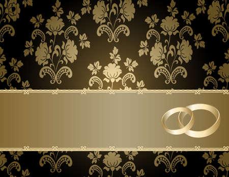 romanticismo:  Carta di nozze con un motivo floreale e luogo per il testo Vettoriali
