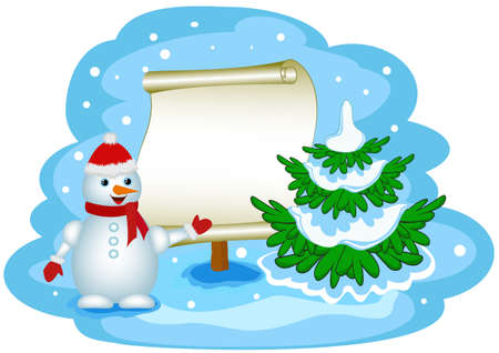 snowman with banner Vector