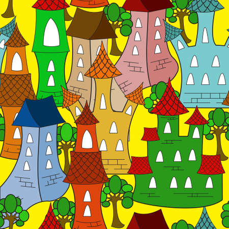 Colorful Cartoon town house. Seamless pattern  Vector