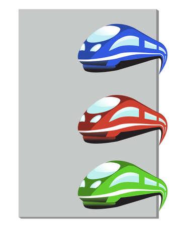Vector train in three colors