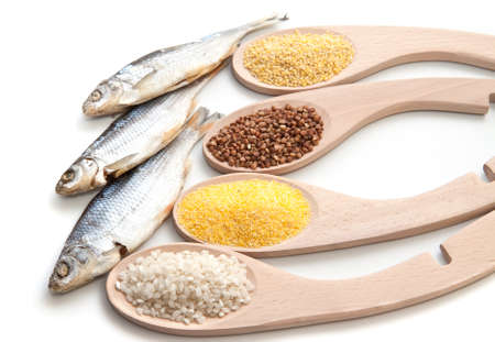 bluefish: Set cereals and dried fish  Stock Photo