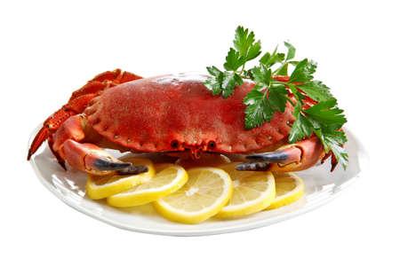 Crab  on a platter Banque d'images