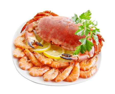 Crab with shrimp and parsley on a white background. photo
